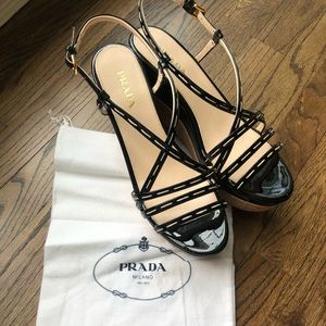 PRADA- WORN ONCE - patent leather wedges